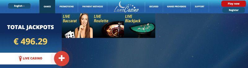 Live casino games at Luna casino