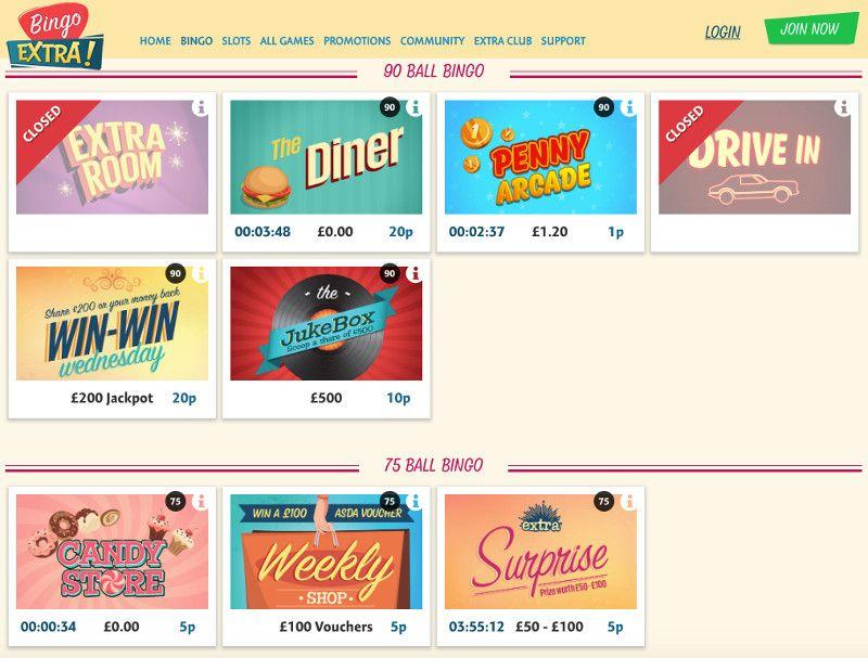 Bingo games at Bingo Extra