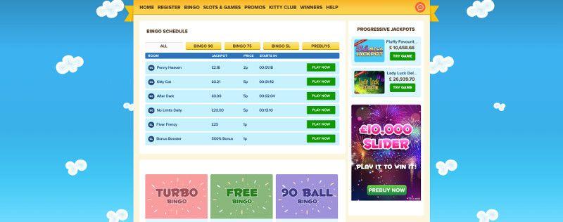 Bingo rooms at Kitty Bingo