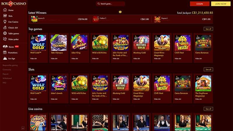 box24casino lobby screenshot