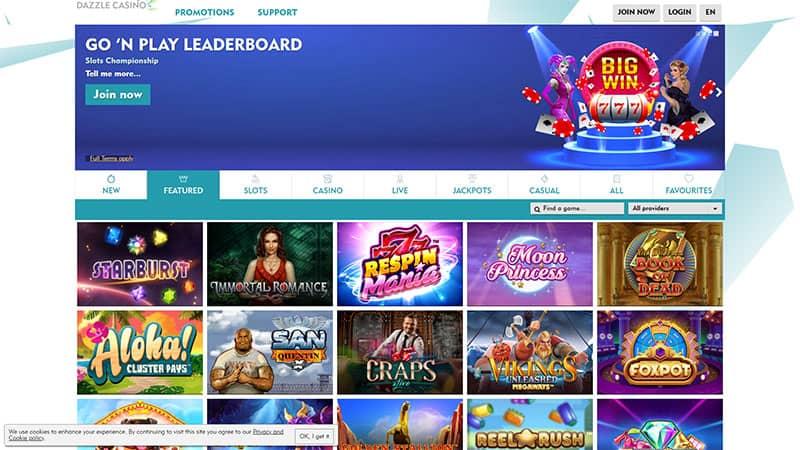 dazzle casino lobby screenshot