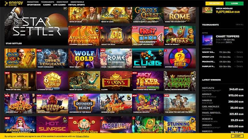 energy casino lobby screenshot