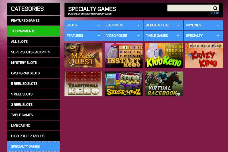 Keno and other casino games at Gossip Slots