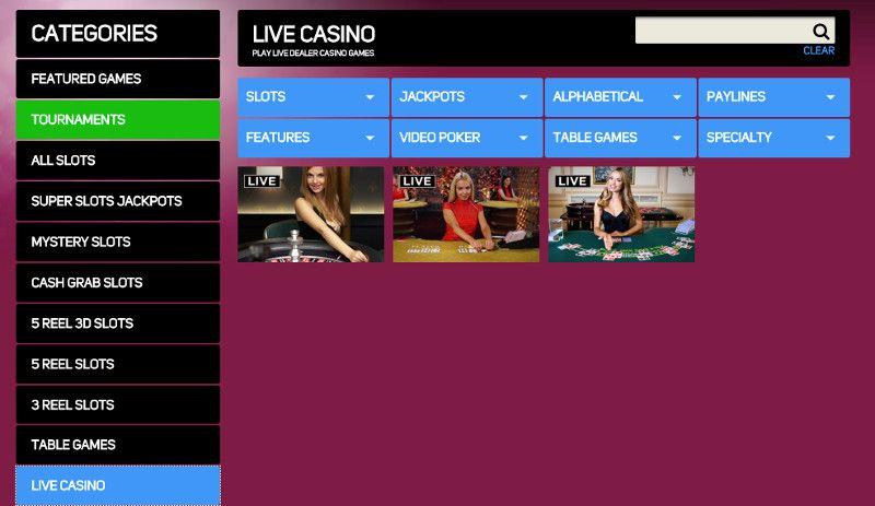 Live casino at Gossip Slots