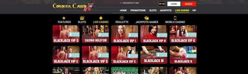 Live casino at Conquer Casino