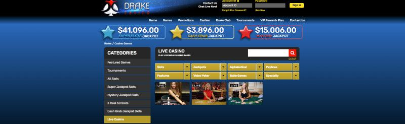 Live casino games at Drake Casino