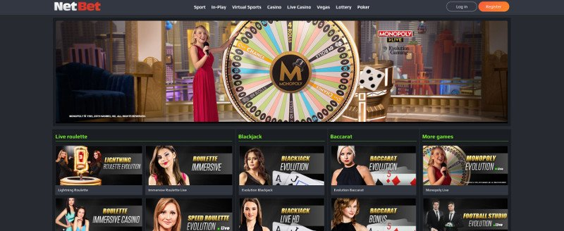 Live casino at NetBet