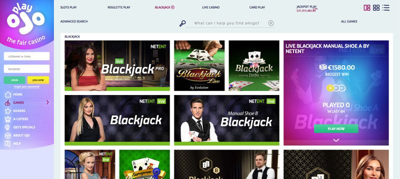 Live casino games at Play ojo