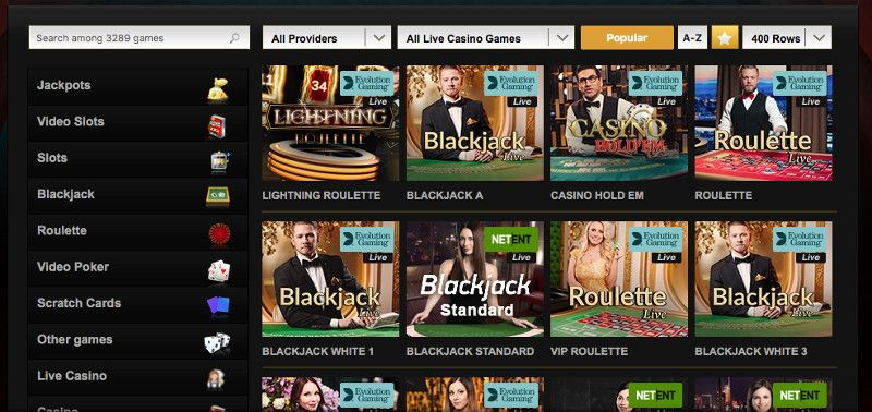 Live casino games at Videoslots