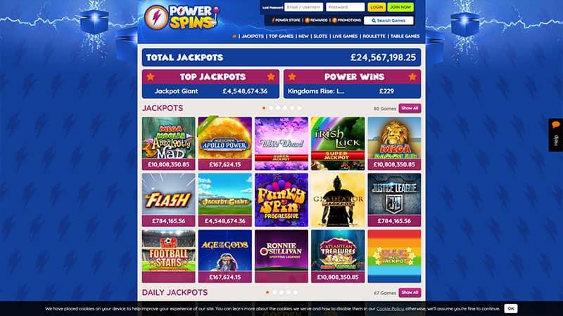 powerspins lobby screenshot