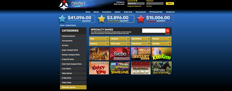 Scratch cards and Keno at Drake Casino