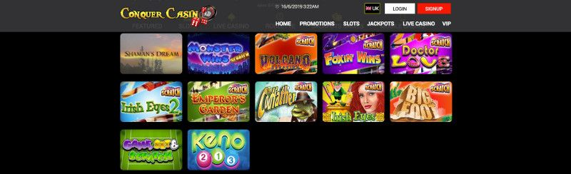 Scratchcards and other casino games at Conquer Casino
