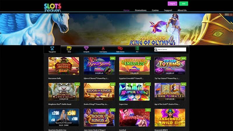 slots heaven lobby screenshot