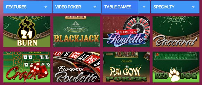 Table Games at Gossip Slots