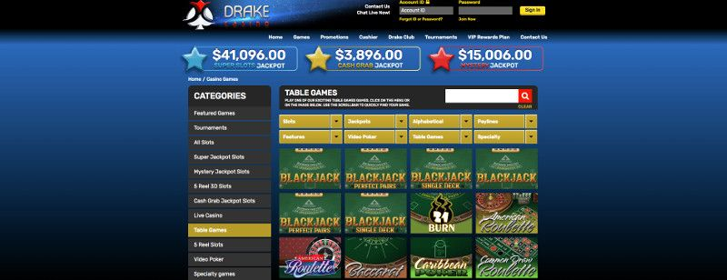 Table games at Drake Casino