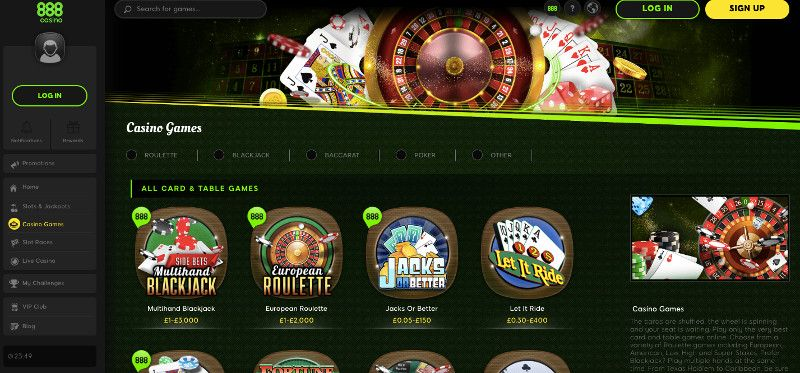 888 Casino Table Games