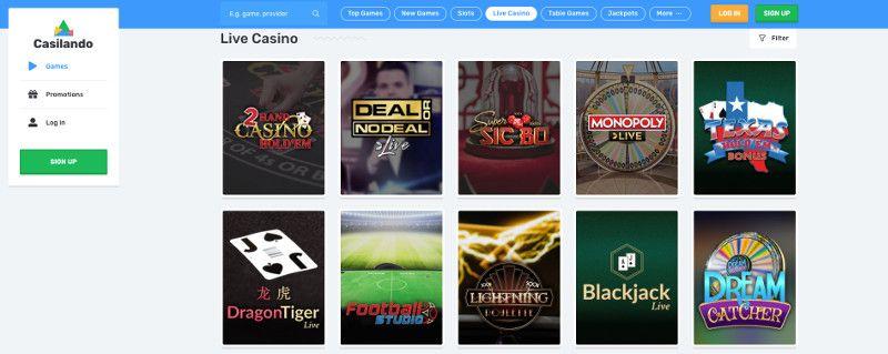 Live casino games at Casilando