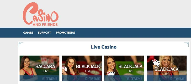 Live casino at Casino and friends