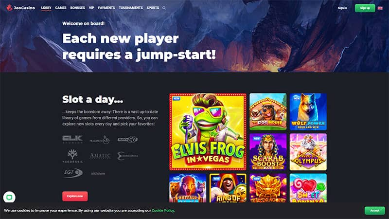 joo casino lobby screenshot