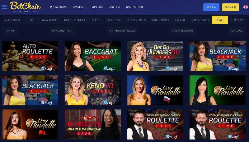 Live casino at Betchain