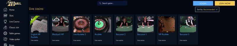 Live casino games at 21 Dukes Casino
