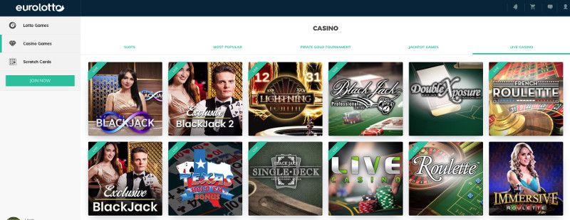 Live casino at Eurolotto