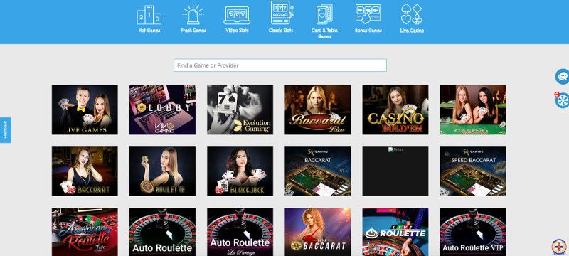Live casino at Nordicasino