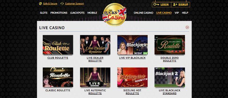 Live casino games at Lucks casino