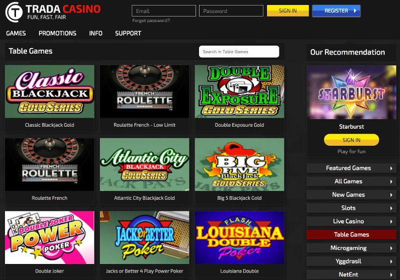 Table games at Trada Casino