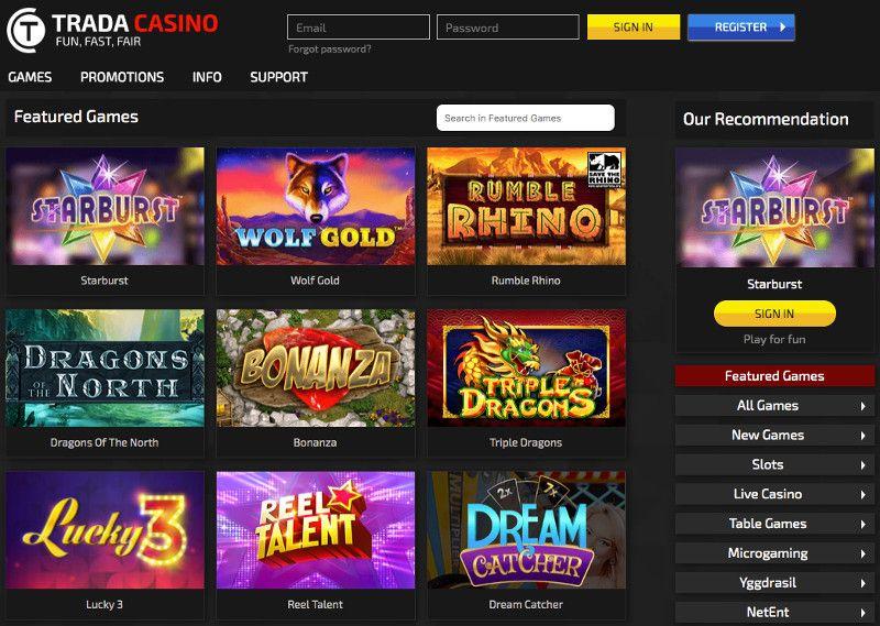 Trada casino screenshot