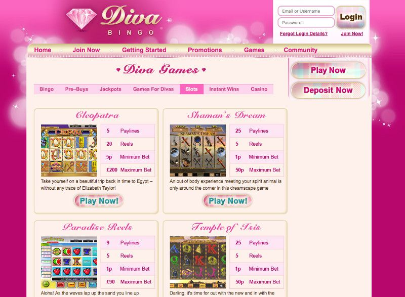 Slots at Diva Bingo