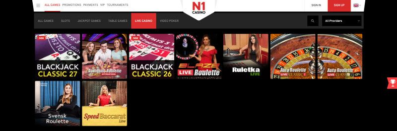 Live casino games at N1 Casino