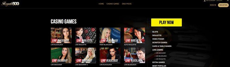 Live casino at Royale 500