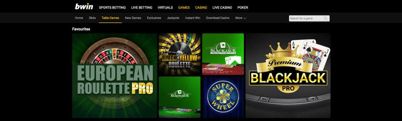 Table games at Bwin
