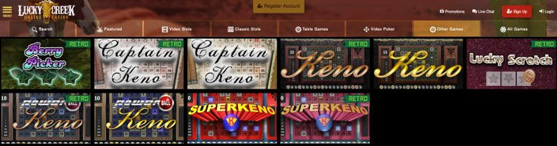 Keno and other casino games at Lucky Creek Casino
