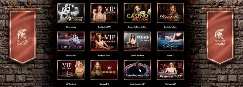 Live casino at Bronze Casino