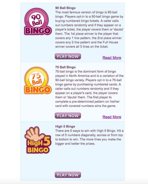 Bingo games at Nutty Bingo