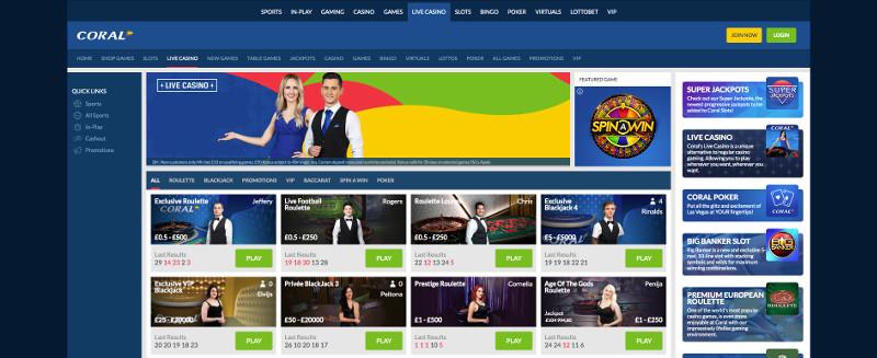 Live casino at Coral