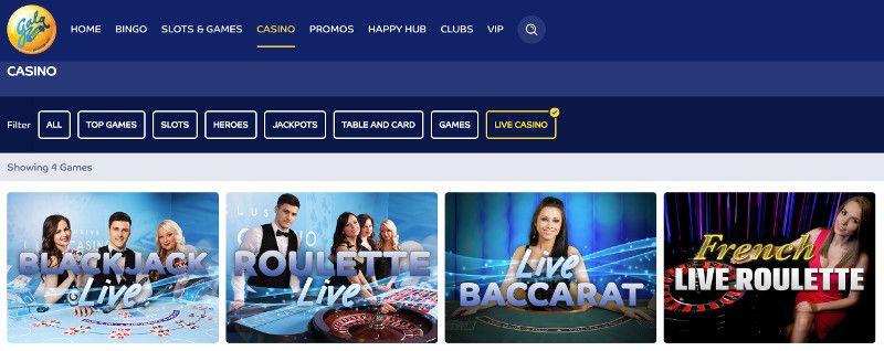 Live casino at Gala Bingo
