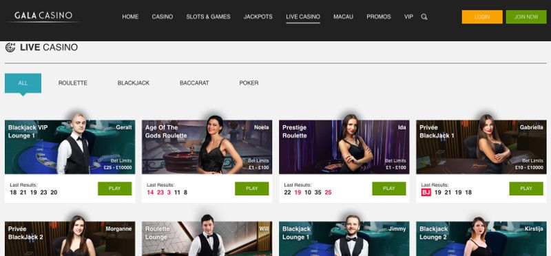 Live casino games at Gala Casino