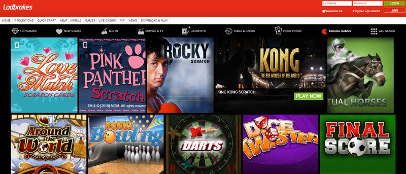 Scratchcards and other casino games at Ladbrokes