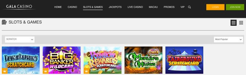 Scratchcards and other casino games at Gala Casino