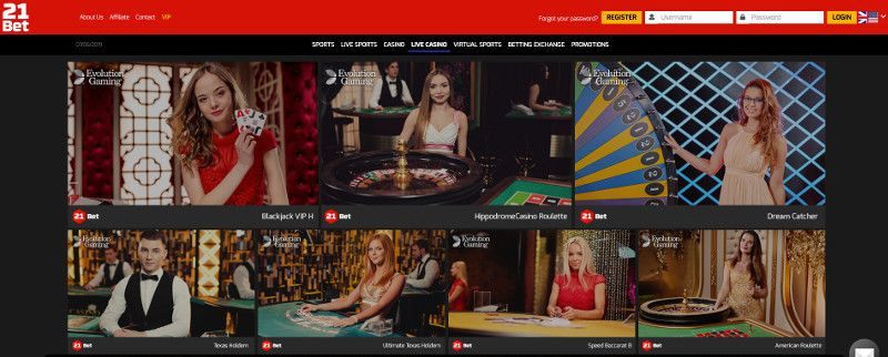 Live casino at 21Bet