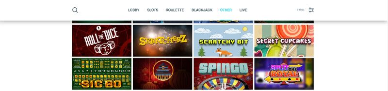 Scratch cards and other casino games at Surf Casino