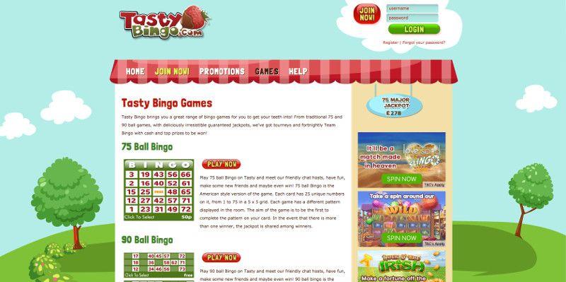 Bingo games at Tasty Bingo