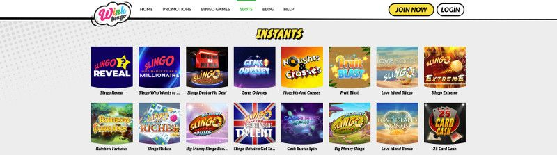 Scratch cards and other casino games at Wink Bingo
