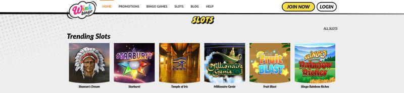 Slots at Wink Bingo
