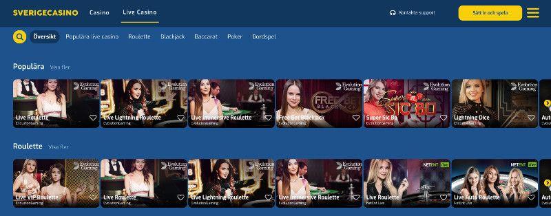 Live casino at Sverige Casino
