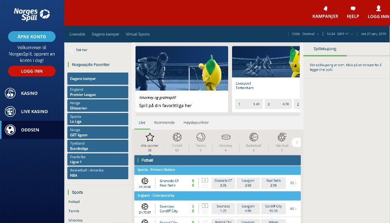 Sports betting at Norge Spill