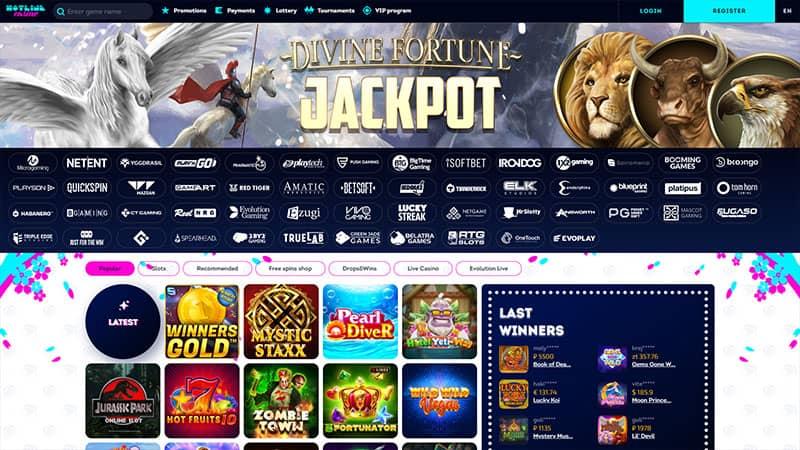 hotline casino lobby screenshot